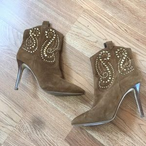 Micheal Kors Camel Suede Gold Studded Ankle Bootie